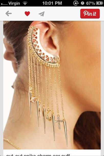 jewels earrings gold ear cuff