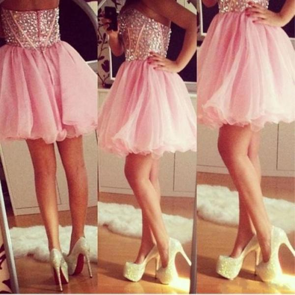 Wholesale Short Homecoming Dresses - Buy Charming Pink Tulle A-Line Short Homecoming Dresses Fully Sequins Crystal Sweetheart Sleeveless Backless Evening Gowns Cheap Custom Made, $104.72 | DHgate