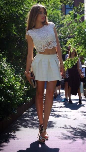 skirt white skirt lace