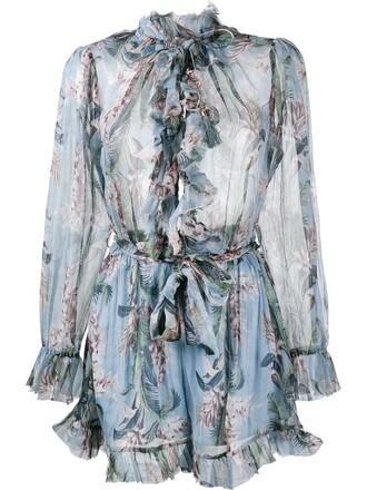 ruffle women floral print blue silk romper