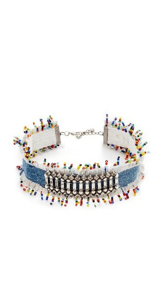 necklace choker necklace denim silver jewels