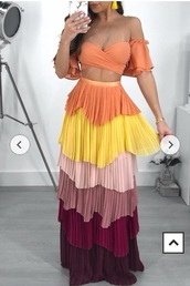 dress,two-piece,two piece dress set,frilly,multicolor,skirt,off the shoulder,off the shoulder top,tie-front top