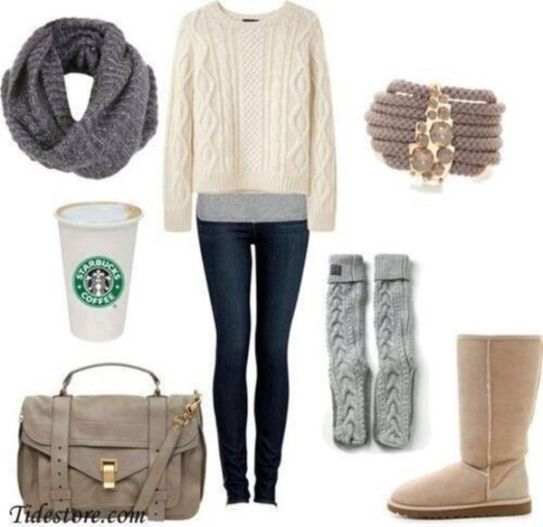 jeans clothes underwear scarf sweater