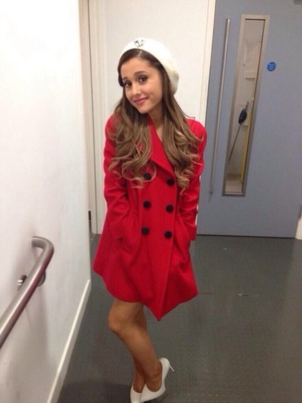 ariana grande red coat cute coat jacket beautiful coat baby i the way right there red shoes