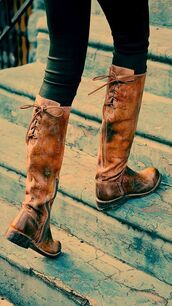shoes,boots,brown riding boots,brown boots,leatherboots,brown leather boots,boots fall,rustic,laces,fall outfits,ridingboots,knee high tan boots with strings in back for fall really c,flat,brown,flat boots