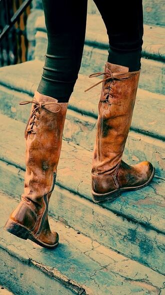 shoes boots brown riding boots brown boots leatherboots brown leather boots boots fall rustic laces fall outfits ridingboots knee high tan boots with strings in back for fall really c flat brown flat boots