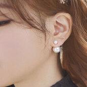 jewels,earrings,pearl,stud,double pearl