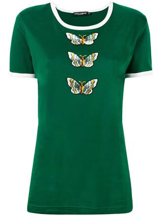 t-shirt shirt women butterfly cotton green top