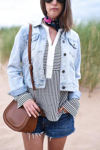 thank fifi blogger blouse jacket scarf jewels bag coat denim jacket stripes striped top shoulder bag brown bag