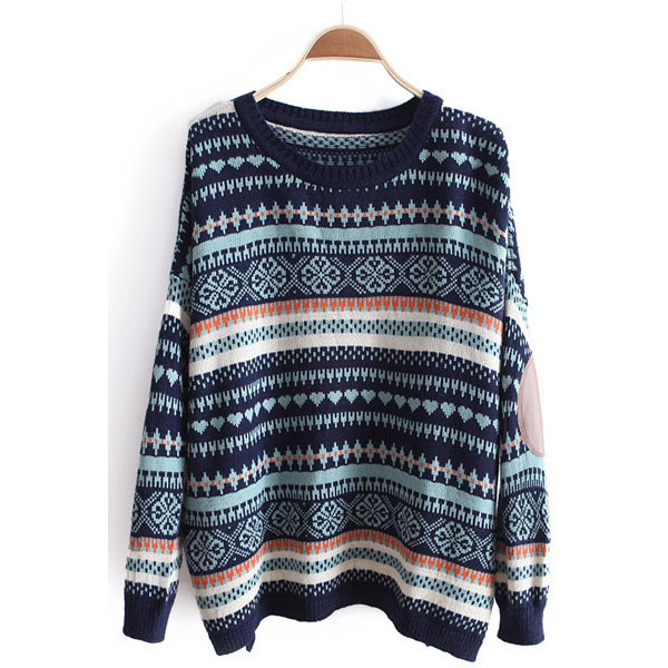 Blue Long Sleeve Striped Loose Pullovers Sweater - Polyvore