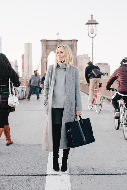 damsel in dior blogger bag shoes grey coat grey sweater long coat winter outfits jeans sweater coat grey long coat