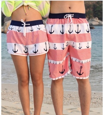 swimwear swimwear anchor black pink white anchor lovely shorts matching shorts couple clothing couples shorts the same ones