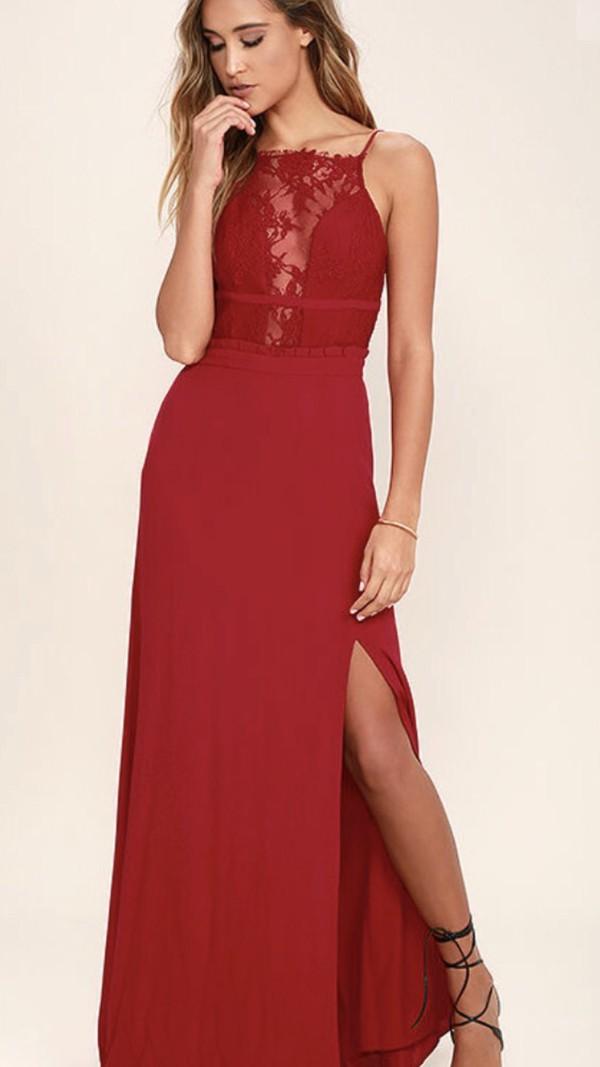 00fe0423edf NBD Stephania Red Lace Backless Maxi Dress