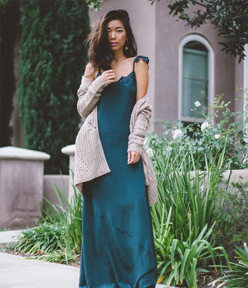 honey n silk blogger cardigan jewels maxi dress silk