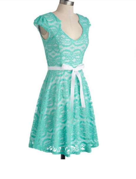 mint green dress with white lace � dress ideas