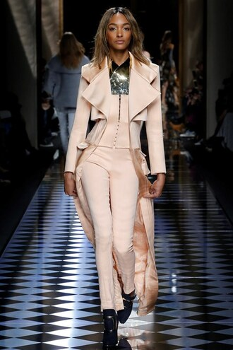coat top nude pants jourdan dunn model balmain fashion week 2016 paris fashion week 2016