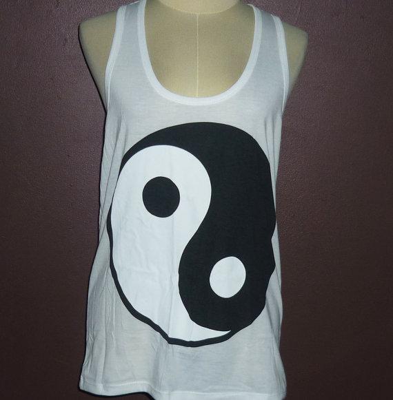 Yin and yang tank top white size s/m/l white and black shirt/ men women singlet/ shirt/ sleeveless/ tops/ tank tops