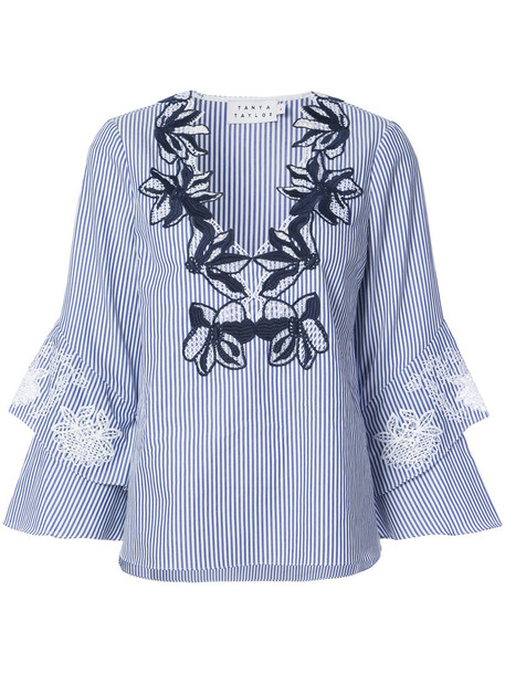 TANYA TAYLOR tunic embroidered women floral cotton top