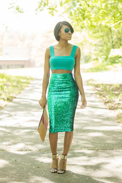 the daileigh t-shirt skirt bag sunglasses shoes pants green sequins