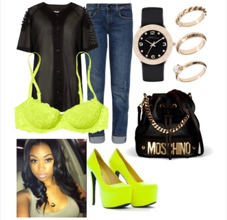 shirt jersey tee shirt bra boyfriend jeans watch bag yellow shoes underwear jewels