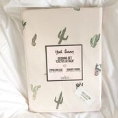 home accessory,yeah bunny,bedding,pillow,cactus,cacti,plants,pastel,cute,cotton,queen bed