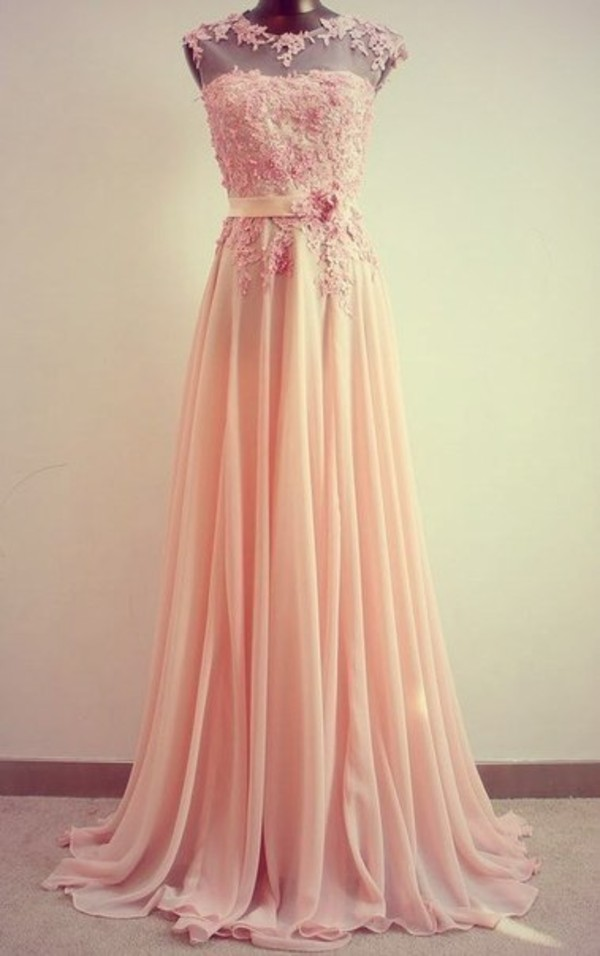 bridesmaid prom dress wedding wedding clothes pink dress peach peach dress salmon belted dress formal dress embroidered embroidered dress embellished embellished dress prom long prom dress dress pink lace chiffon dress ros? long dress flower detail bridesmaid wedding party dress evening dress grad dress long prom dress chiffon prom dress prom dress with appliques homecoming dress