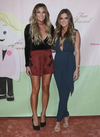 jumpsuit jojo fletcher pants blouse sandals plunge v neck