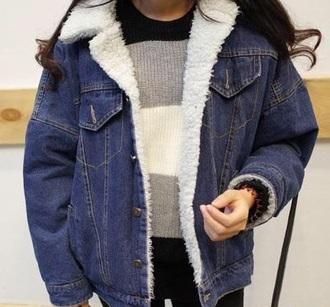 jacket girly blue denim denim jacket fur fur jacket