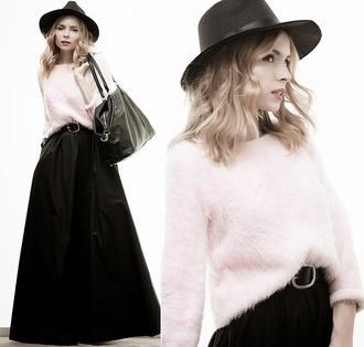 tini tani blogger hat sweater bag skirt belt jewels shoes jacket