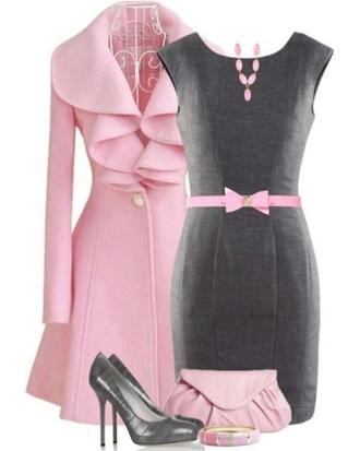 jacket dress gray and pink dress coat pink bow belt bag grey sheath dress