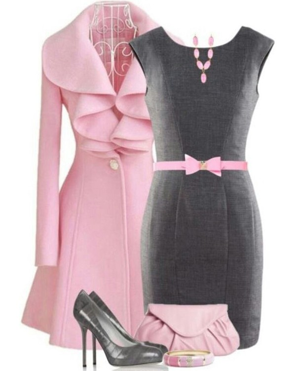 jacket dress gray and pink dress coat pink bow belt bag grey sheath dress