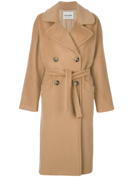 AVA ADORE coat women wool brown