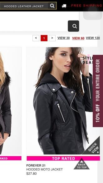jacket leather jacket biker jacket hooded jacket tumblr tumblr outfit
