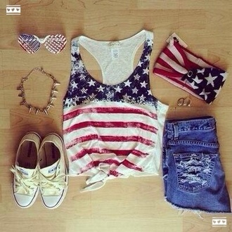 tank top america american american flag bandeau short converse all stars sunglasses america top american top top shirt necklace