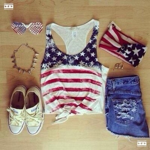 american flag shirt tank top american america bandeau short converse all stars sunglasses america top american top top necklace