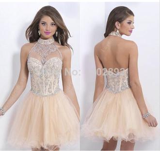 halter dress short prom dress beige dress homecoming beading homecoming dresses