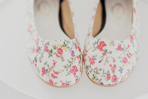 Floral Print Shoes - Wqkytf Shoes Floral Flats Floral Print Shoes Girly Ballet Flats Flowers Cute Flats White