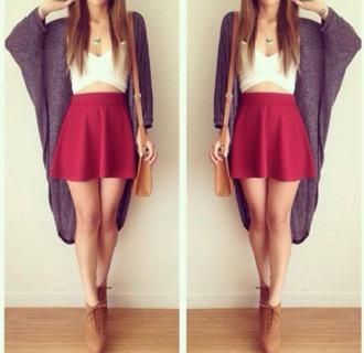 skirt red skirt white shirt grey cardigan brown boots