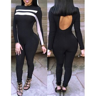 jumpsuit sexy cut offs beautiful bodysuit black streetwear casual rose wholesale chic style