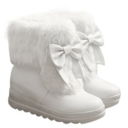 Cute women's snow boots with imitation fur and bow design (white,42)