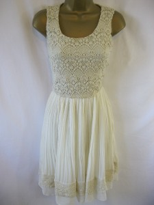 Yumi Sz 12 039 Lacey 039 Dress Cream Crochet Top Amp Pleated Skirt Gorgeous Detail | eBay