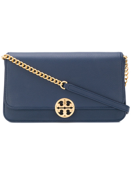 Tory Burch women clutch leather blue bag
