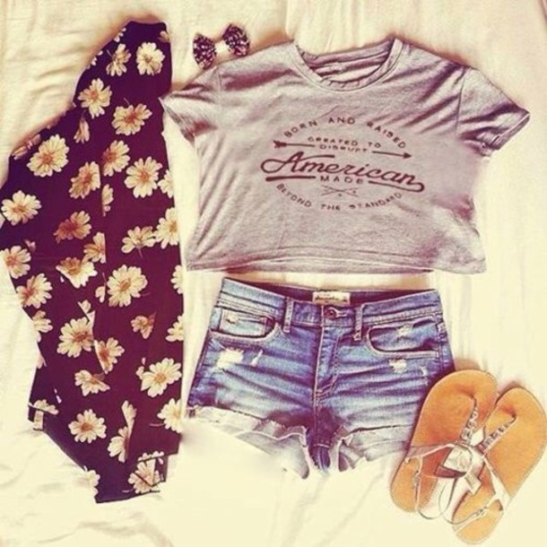 shirt flowers shoes cardigan jacket blouse top shorts t-shirt t-shirt cropped grey american