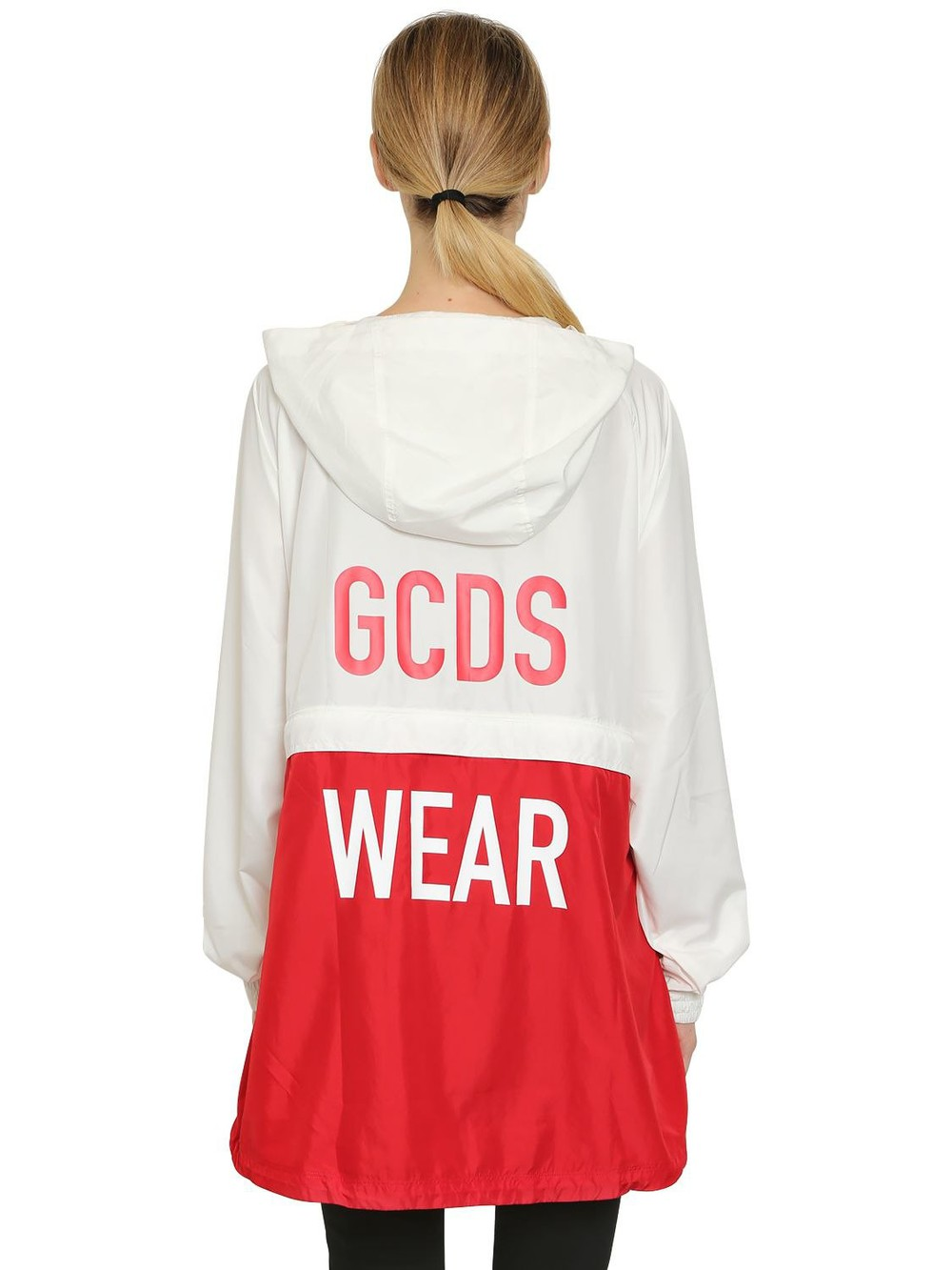 GCDS Hooded Zip Off Anorak Jacket in red / white