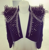 jacket,spikes,spiked moto jacket,spiked leather jacket,black jacket