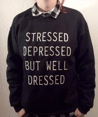 sweater black sweater quote on it funny sweater