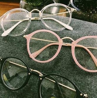 sunglasses girly pink clear clear glasses white black
