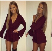 romper,purple,berry,purple berry,burgundy romper,long sleeve romper,burgundy