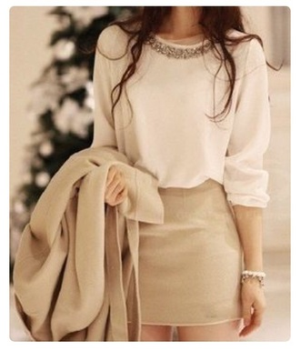 blouse ivory cream white top beaded embroidered classy classic clean chic korean fashion pretty cute top