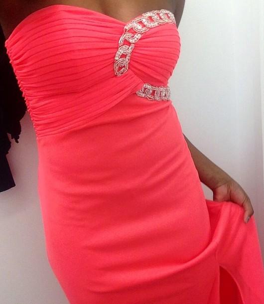 dress coral dress prom dress cute dress long prom dress sequin dress